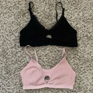 NWOT Lace Trim Black and Dusty Pink Bralettes